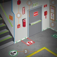 Quickly check your facility's emergency signage with this reference chart. Examples of effective markings & relevant regulations will streamline your process. Fire Safety Poster, Health And Safety Poster, Fire Safety Tips, Safety Posters, Safety Pictures, Workplace Safety Tips, Safety Slogans, Visual Management, Safety Topics