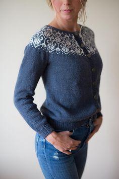 Ravelry: Lotusblomstkofte / Lotus flower jacket pattern by Marianne J. Cardigan Design, Cardigan Pattern, Sweater Knitting Patterns, Jacket Pattern, Knitting Designs, Knitting Sweaters, Fair Isles, Fair Isle Knitting, Lotus Flower