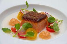 Ora King Salmon by Executive Chef Ihaka Peri: Seared salmon, Likuliku heirloom tomato & mud crab salad, tomato consommé, goats cheese & smoked tomato espuma