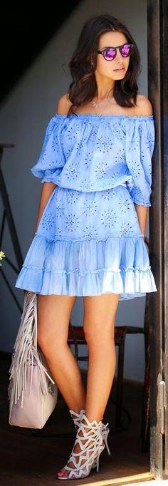 Anna-karin Karlsson Blue Off The Shoulder Cutout Pattern Ruffle Hem Summer Dress by Vivaluxury