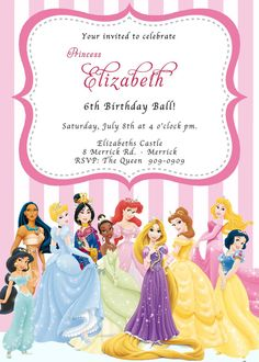 Hey, I found this really awesome Etsy listing at https://www.etsy.com/listing/121940570/princess-birthday-invitation