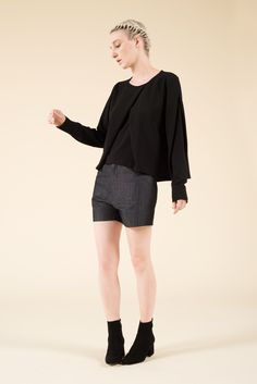 Crepe shirt with crew neck and doubled crossed fabric on chestand sleeves. Made in Italy 95 PL 5 CO  #lauclothing