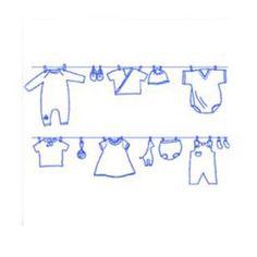 sticker bleu qui reprend l'image d'un fil à linge avec des vêtements de bébé