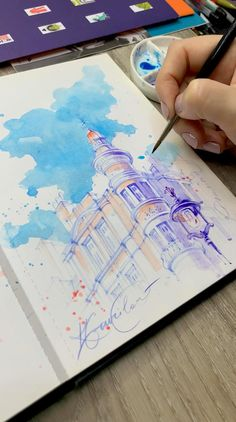 Watercolor Painting Techniques, Watercolor Drawing, Painting & Drawing, Watercolor Paintings, Art Paintings, Watercolor Sketchbook, Pour Painting, Architecture Drawing Sketchbooks, Watercolor Architecture