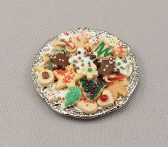 Square Tin with Chocolate Cookies  Dollhouse Miniature Food Christmas Holiday 4