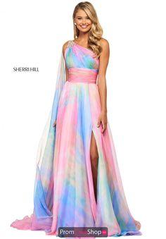 Sherri Hill - 53768 Single Shoulder Chiffon A-Line Dress Neon Prom Dresses, Sherri Hill Prom Dresses, Quinceanera Dresses, Dressy Dresses, Club Dresses, Maxi Dresses, Masquerade Ball Gowns, Latest Dress Design, Goth Dress