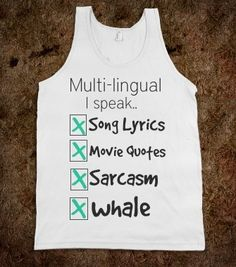 I found 'I speak every Language song lyrics movie quotes sarcasm whale unisex' on Wish, check it out!