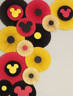 Paper Rosettes Mickey Mouse Birthday Decor Photo Booth-Flower Wall-Birthday Pary-Bridal Shower-Princess-Minnie mouse Paper Fans Paper Rosettes Mickey Mouse Birthday Decor by LavishInspirations Mickey Mouse Clubhouse, Mickey Mouse Classroom, Fiesta Mickey Mouse, Mickey 1st Birthdays, Mickey Mouse 1st Birthday, Mickey Mouse Baby Shower, Mickey Mouse Party Decorations, Mickey Mouse Parties, Mickey Mouse Backdrop