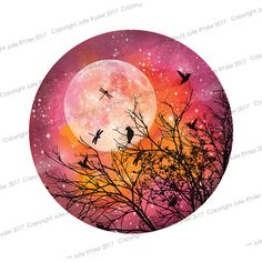 Watercolour Print Pinks, Oranges, Yellow with Tree, Hummingbirds and Dragonflies with moon. 8 x 8 inch and 21 x 12 i nch Watercolour Print Pinks Oranges Yellow with Tree Watercolor Print, Watercolor Paintings, Tree Watercolour, Record Art, My Art Studio, Galaxy Art, Artwork Design, Rock Art, Painted Rocks
