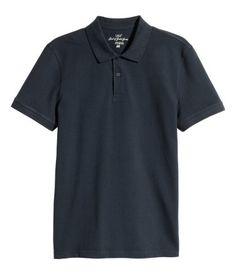 Mens dark blue casual polo shirt