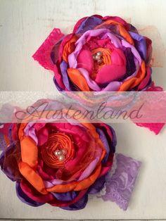 Phoebe fuchsia , purple and orange headband by Austenland    https://www.etsy.com/shop/Austenland