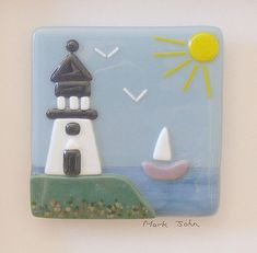 Fused Glass Wall Art Framed Picture Lighthouse