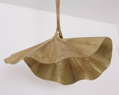 Very rare, huge ginkgo leaf chandelier by the Italian designer Tommaso Barbi. The chandelier are made of brass and the reflexion of the light on the brass brings a cozy atmosphere in every room. The chandelier is very hard to find and a real Brass Chandelier, Hanging Light Fixtures, Seashell Chandelier, Pendant Lamps Kitchen, Modern Chandelier, Dining Chandelier, Industrial Glass Pendant, Modern Lamp, Ginkgo Leaf