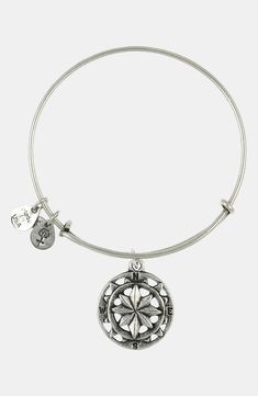 Currently wearing this Alex and Ani silver 'Compass' bangle.