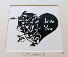 Hand-Cut Paper Cut Black and White Leaf / Vine Heart ©Paperama® www.facebook.com/paperama.kerry www.twitter.com/PaperamaArt www.paperama.co.uk