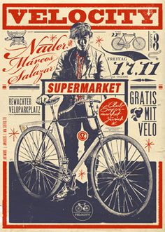 Velocity at Supermarket, Poster by Amadeus Waltenspühl Vintage Advertisements, Vintage Ads, Vintage Posters, Vintage Prints, Typography Inspiration, Graphic Design Inspiration, Typography Design, Bicycle Art, Bicycle Painting