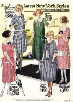 1922- Plaid, checks, stripes, oh my! The house dress was a time to wear colorful prints. Learn more 1920s day dress history http://www.vintagedancer.com/1920s/1920s-day-house-dresses-aprons/