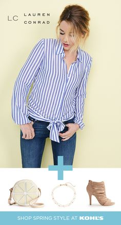 Find LC Lauren Conrad outfits at Kohl's. The classic blue and white striped button-up shirt gets an - Arbeits Outfits Lc Lauren Conrad, Look Fashion, Fashion Outfits, Womens Fashion, Ladies Fashion, Fashion Design, Casual Outfits, Cute Outfits, Beautiful Outfits