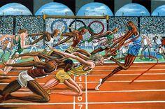 Ernie Barnes - Olympic Finish. Google Image Result for http://visionaryartistrymag.com/wp-content/uploads/2010/10/olympicfinish.jpg