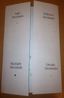 : Decimal Operations Foldable - could also do with fractions, positives and negatives. Interactive Student Notebooks, Math Notebooks, Teaching Math, Math Teacher, Teaching Tips, Teacher Stuff, Teaching Decimals, Teaching Strategies, Sixth Grade Math