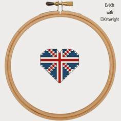 Free Union Jack Heart Cross stitch pattern PDF