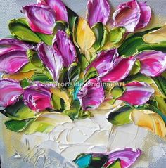 Oil Painting Tulips  Impasto  Original Painting  Palette