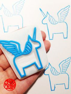 winged unicorn stamp. alicorn rubber stamp. hand carved rubber stamp. story telling. diy birthday. craft projects with children.
