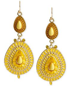 Haskell Gold-Tone Yellow Oval Double Drop Earrings - Jewelry & Watches - Macy's