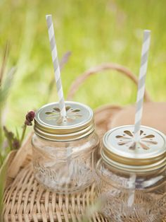 Keep bugs out of your drinks with these reusable mini drinking jars and lids.