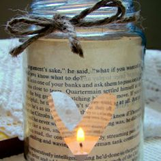 Cute candle holder, paper with a cut out heart around a mason jar! adorable!! Craft ideas for homemade Mother's day gifts.