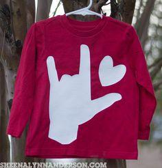 """Boy Valentine's Shirt, Valentine's Shirt, Sign Language """"I Love You"""" Valentine's Shirt, Heart Shirt by SheenaLynnAnderson on Etsy"""