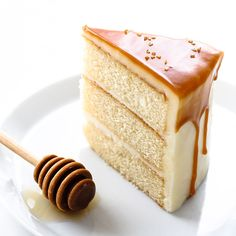 May 2019 - Honey Butter Cake. A honey infused layer cake recipe topped with honey cream cheese frosting and drizzled with a dramatic honey butterscotch glaze. Layer Cake Recipes, Best Cake Recipes, Sweet Recipes, Dessert Recipes, Layer Cakes, Honey Recipes, Vegan Recipes, Food Cakes, Cupcake Cakes