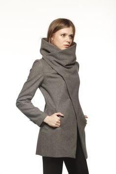 Azul marino Cuello alto chaqueta de invierno de lana las mujeres por Sophiaclothing
