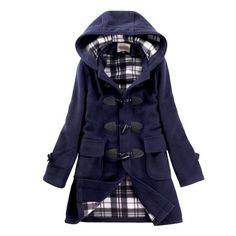 $54.99 SGG Woolen Coat Hooded Winter Horn Button Trench Coat Women XL Blue
