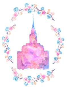 Acuarela del templo de Oquirrh Mountain Sud por artworkbyceleste