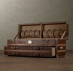 End of bed shoe storage | Mayfair Steamer Low Chest Vintage Cigar Leather | Restoration Hardware ($1545.00)