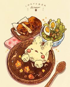 """""""Inktober A humble curry dinner! 🐰🍛 this will conclude the rabbit meal set. We will start with delicious cat-meal tomorrow! Cute Food Drawings, Cute Kawaii Drawings, Kawaii Art, Food Wallpaper, Kawaii Wallpaper, Food Illustrations, Illustration Art, Cute Food Art, Food Sketch"""
