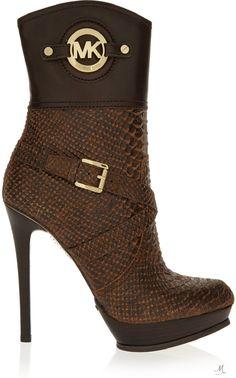 MICHAEL MICHAEL KORS Stockard snake-effect leather platform boots
