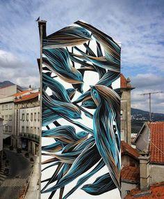 Creative and Wonderful Street Art by Antonio Correia aka Pantonio on by Pantonio in Covilha, Portugal, (LP) 3d Street Art, Murals Street Art, Street Art News, Best Street Art, Amazing Street Art, Street Art Graffiti, Street Artists, Mural Painting, Mural Art