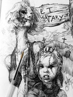 ArtStation - Inktober::: Pet Sematary. , Alvaro León Horror Movie Tattoos, Horror Films, Horror Art, Horror Stories, Creepy Movies, Pet Cemetery, Stephen King, King Book, Movie Poster Art
