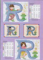 Fairy Alphabet - R Cross Stitch Alphabet Patterns, Disney Cross Stitch Patterns, Cross Stitch Letters, Cross Stitch Charts, Cross Stitch Fairy, Cross Stitch Angels, Cross Stitching, Cross Stitch Embroidery, Alphabet And Numbers