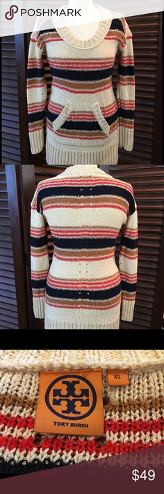 """Tory Burch Linen Blend Striped Sweater Size XS This Tory Burch sweater is a linen and cotton blend.  It is in good condition, no holes or stains.  Measurements are:  17"""" from armpit to armpit, waist is 15"""" across and sweater length is 29 1/2"""".  This is a rather long sweater that will cover your bottom and looks good with leggings! Tory Burch Sweaters Crew & Scoop Necks"""