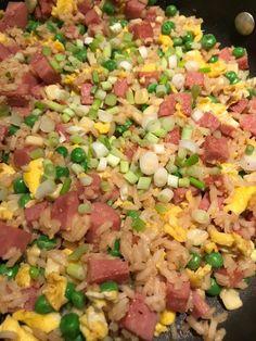 Spam Fried Rice For Recipe 2 Spam Recipes, Stir Fry Recipes, Rice Recipes, Vegetarian Recipes, Dinner Recipes, Skillet Recipes, Skillet Meals, Dinner Ideas, Recipies