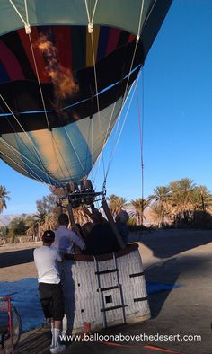 Balloons Above preparing to launch the first hot air balloon on a December afternoon in the Coachella Valley. For more info visit www.BalloonAboveTheDesert.com