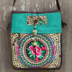 NOVICA Thai Embroidered Green Shoulder Bag with Leather Trim (12750 RSD) ❤ liked on Polyvore featuring bags, handbags, shoulder bags, accessories, clothing & accessories, green, shoulder strap bags, purse shoulder bag, leather hand bags and leather shoulder bag