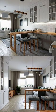 Start using these interior decor tips to brighten up your home and give it new life. Home redecorating is entertaining and will transform your house into a home when you learn how to get it done. Condo Interior Design, Small Apartment Interior, Small Apartment Design, Apartment Layout, Apartment Kitchen, Living Room Kitchen, Home Decor Kitchen, Small Apartments, Kitchen Interior