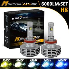 Broview M5 H8/H11 LED Headlight bulb conversion kit - 6,000 LM, 3,000 - 10,000K Available for change, hard quality, send from US. amzn.to/1VyhTDs, the LED Headlight size same as the original halogen headlight.