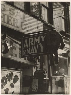 Berenice Abbott - Army Navy Storefront, New York Berenice Abbott, Army & Navy, City Architecture, Interesting History, History Facts, Store Fronts, Metropolitan Museum, Nyc, New York
