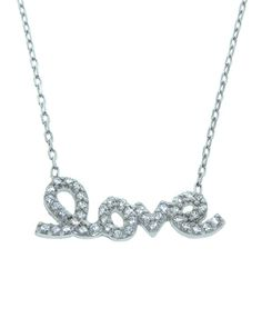 The Silver Pave Love Necklace by JewelMint.com, $36.00