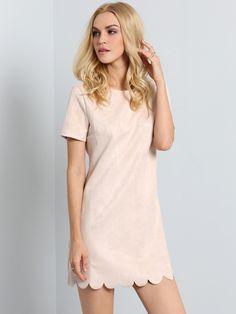 Short Sleeve Scallop Hem Dress 24.00
